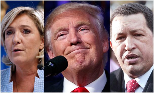 FOTO: Le Pen, Trump, Chavez (Mashup AP/EPA/AFP)
