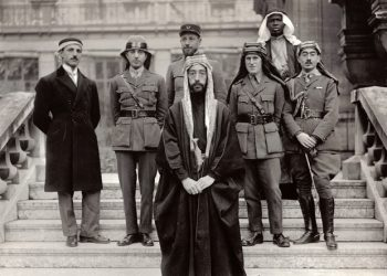 Lawrence of Arabia 2nd from right, middle row. (National Archives)