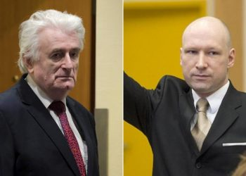 FOTO: Radovan Karadžić i njegov obožavatelj Anders Breivik, svaki na svom sudu (REUTERS)