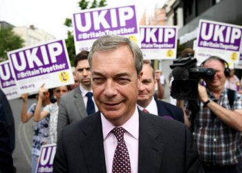 CLACTON-ON-SEA, ENGLAND - JUNE 02: Former UKIP leader Nigel Farage arrives to campaign with Clacton's UKIP Candidate on June 2, 2017 in Clacton-on-Sea, England. All parties continue to campaign across the country ahead of the general election on June 8. (Photo by Carl Court/Getty Images)