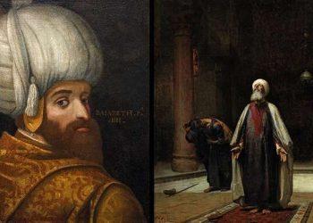 Lijevo: portret sultana Bajezida I, 1580. Desno: molitva, ulje na platnu, 1877, od američkog slikara Fredericka Arthura Bridgmana 1847-1928Ustupio Muzej islamske umjetnosti iz Malezije/Britanski muzej