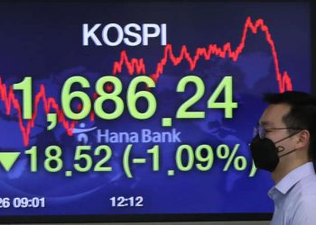 epa08323285 An electronic signboard at KEB Hana Bank shows the benchmark Korea Composite Stock Price Index (KOSPI) down 1.09 percent to close at 1,686.24 due to foreign selling, in Seoul, South Korea, 26 March 2020. EPA-EFE/YONHAP SOUTH KOREA OUT